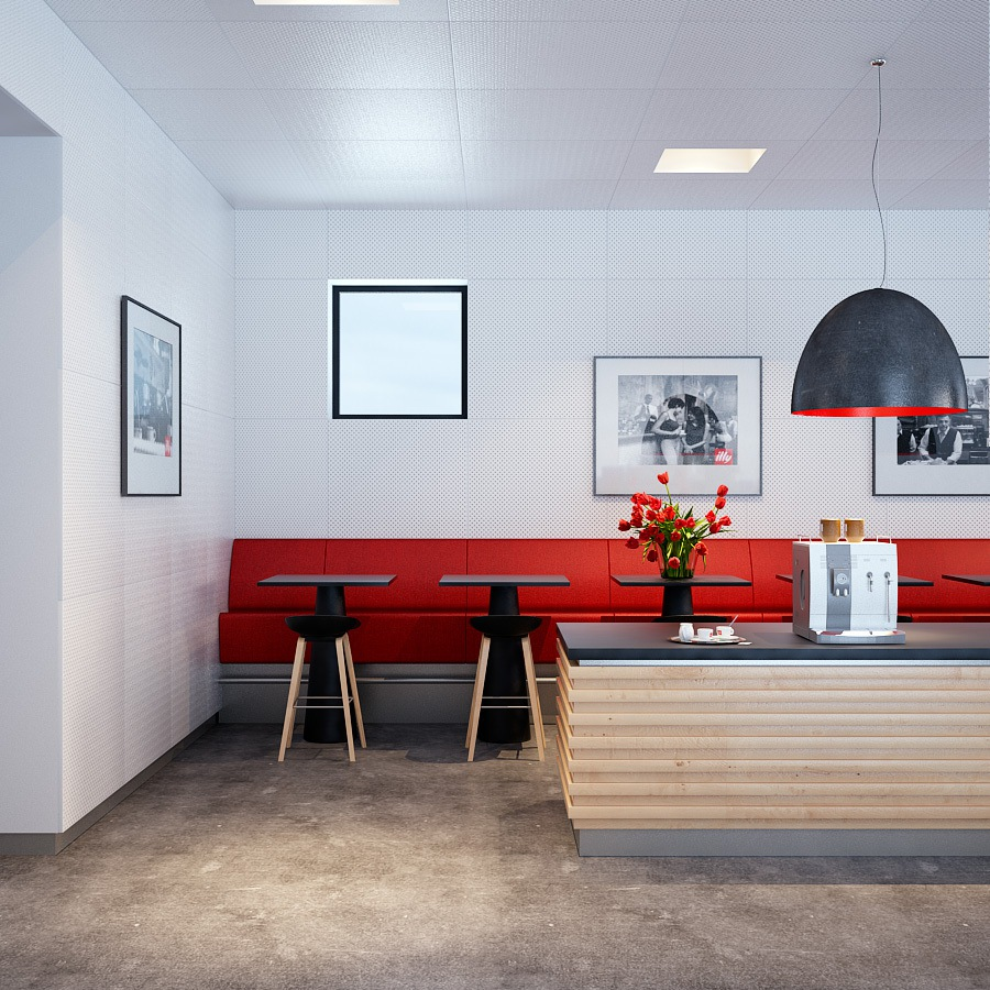 long-red-sofa-with-black-modular-pendant-lamp-above-wooden-kitchen-island-with-black-countertop-idea_OZEL-KOLEKSIYON